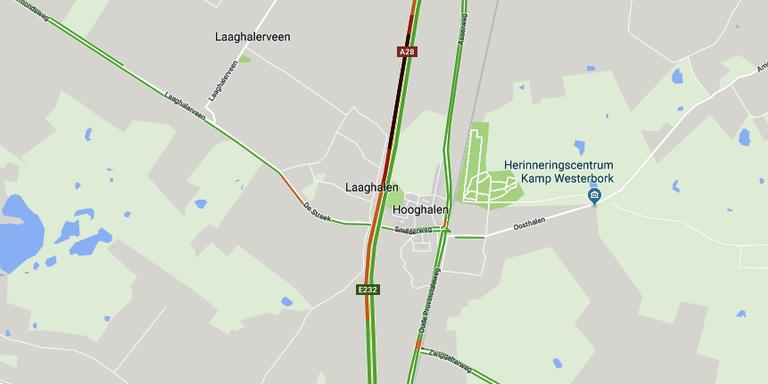 File op A28 bij Hooghalen door ongeluk.