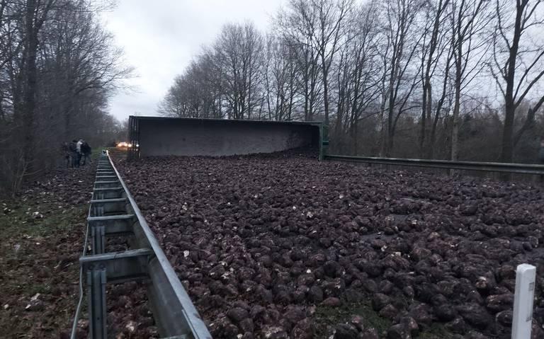 Bietenwagen gekanteld bij Schildwolde. Tapijt van bieten op N387.