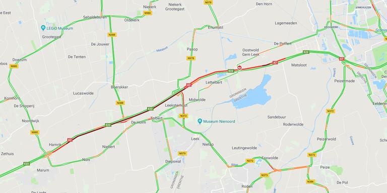 Flinke files op A7 na ongeluk tussen Groningen en Marum.
