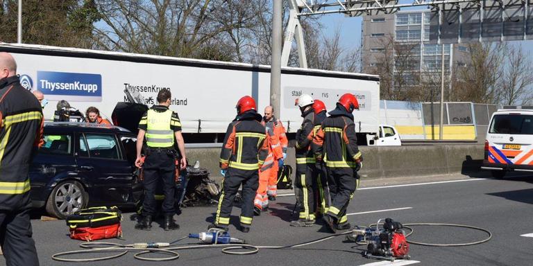 Verkeer op Ring Groningen rijdt weer na ernstig ongeluk.