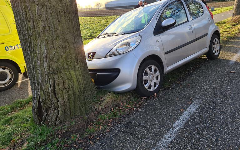 Automobiliste gewond door botsing tegen boom op Rolderstraat bij Assen.