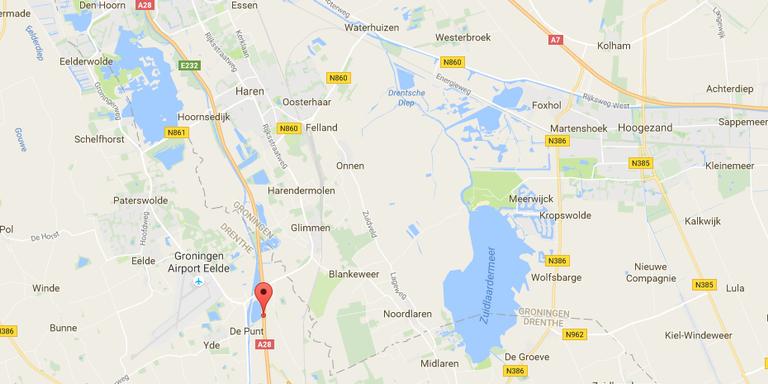 Ongeluk op A28 tussen Eelde en Zuidlaren.
