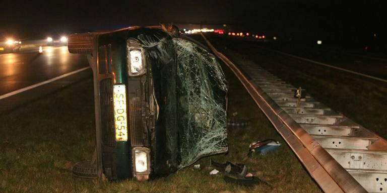 Eenzijdig ongeval op A7 bij Marum.