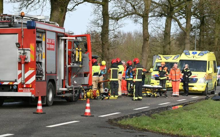 Twee gewonden na botsing op N388, traumahelikopter aanwezig.
