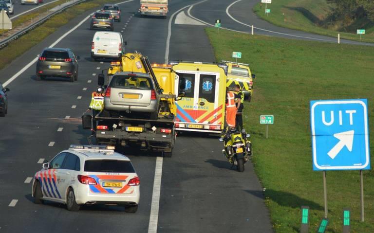 File op de A7 na ongeval bij Marum.