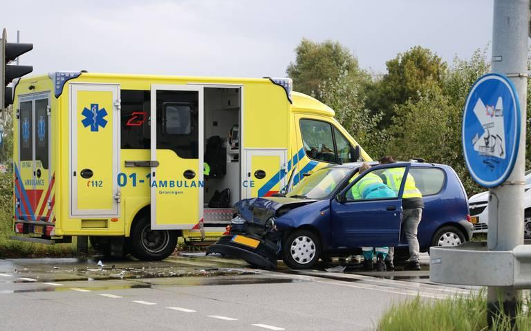 Drie gewonden bij aanrijding op Europaweg in Groningen.