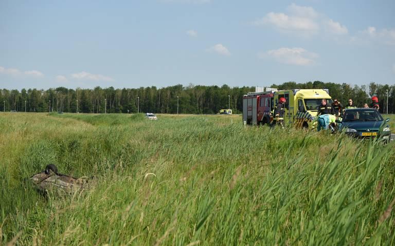 Afrit A7 richting Noordbroek afgesloten na ongeval.