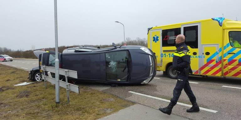 Auto-ongeluk bij Lauwersoog.