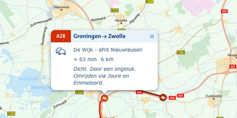 N332 tussen Heeten en Raalte nog hele middag dicht na ongeluk.