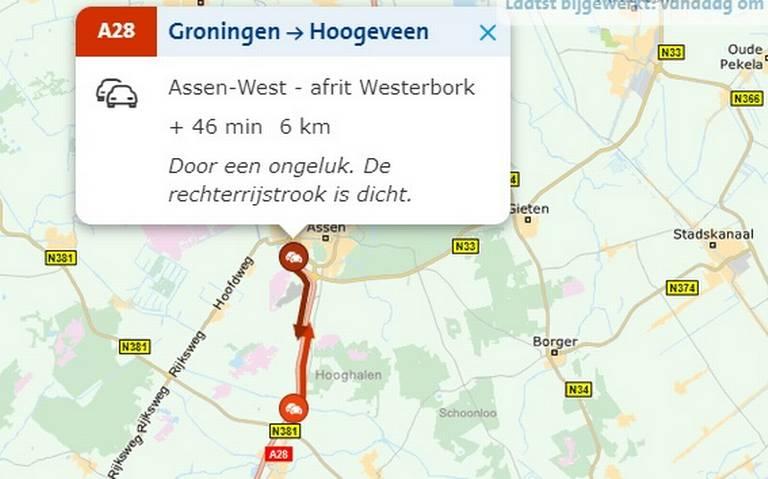 File na ongeval op A28 tussen Assen en Hoogeveen.